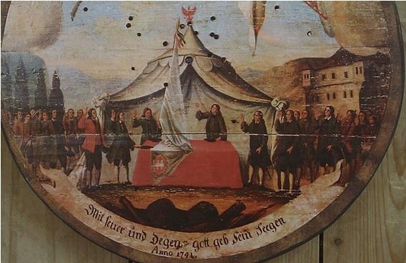 Detalhe - Prato de tiro com trajes tiroleses - 1741