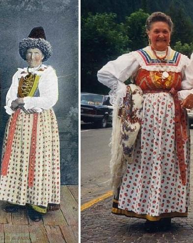 À esquerda  antigo cartão-postal mostrando mulher em traje típico da região  de Val di Fassa.  5  À direita  versão moderna do traje típico – grupo folk  de ... 827e30b753e