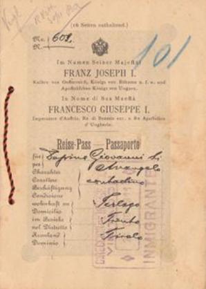 Passaporte austríaco de imigrante da região de Trento.