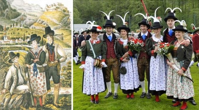 À esquerda: aquarela da década de 1830 mostrando os trajes típicos da região de Folgaria. Ao fundo, a cidade de Besenello. [1] À direita: versão moderna do traje típico – companhia de atiradores de Rovereto. [2]