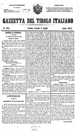 Gazzeta del Tirolo Italiano - Jornal da cidade de Trento (século 19)