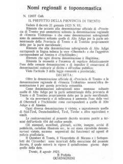 """Decreto fascista de 1923 que proibia na região de Trento e Bolzano o uso do secular topônimo """"Tirol"""" e impunha o uso de """"Triveneto""""."""