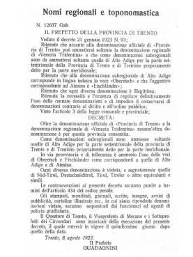 """Decreto assinado pelo governador Guadagnini (trasnferido para a região após a guerra) que proibia à província anexada o uso do secular topônimo """"Tirol""""."""