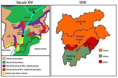 À esquerda: distribuição linguística no Tirol Meridional durante o século XIV. À direita: línguas faladas no Tirol em 1918. [1]