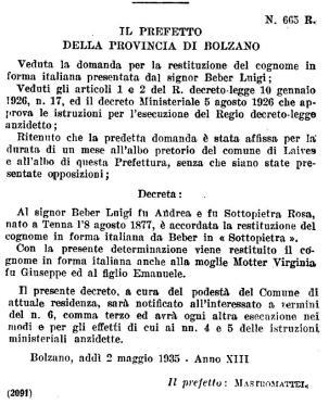 Italianização do sobrenome Beber para Sottopietra durante o fascismo.