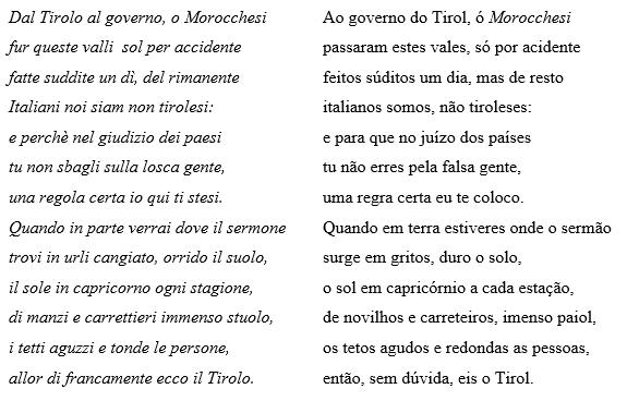 À esquerda: versão completa do famoso soneto de Vannetti. À direita: tradução.