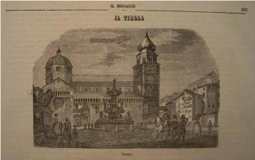 A cidade de Trento retratada em um livro escolar do século XX, que afirma ser o Tirol uma província austríaca localizada na Itália (Península Itálica).
