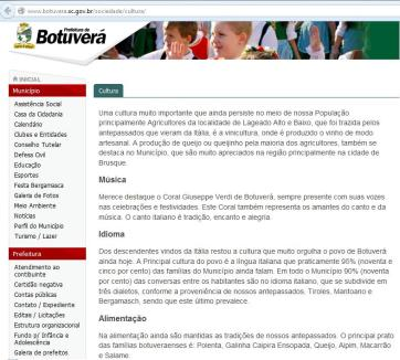 Site da prefeitura de Botuverá. Referência ao dialeto tirolês.