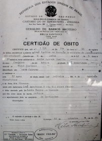 Certidão de óbito de Santa Paulina, Amabile Visentainer (Wisenteiner em alguns registros de Nova Trento).