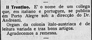 Anúncio sobre o jornal Il Trentino no jornal A Gazeta do Commercio, editado em Joinville (1917).