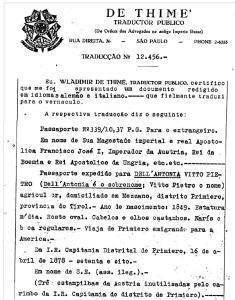 Tradução do passaporte do imigrante austríaco Vitto Pietro Dell'Antonia.