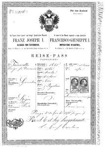 Passaporte de imigrante austríaco estabelecido em Santa Teresa.
