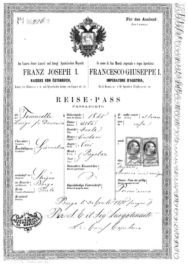 Passaporte imigrante Tirol Santa Teresa
