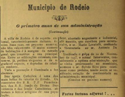 Trecho do jornal O Semeador (1938), editado em Rodeio.