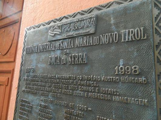 Santa Maria do Novo Tyrol - Placa imigração