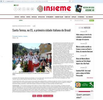 A notícia da Revista Insieme (clique para ampliar).
