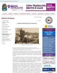 """Site da prefeitura de Bento Gonçalves. Imigrantes """"do Tirol Austríaco e do Vêneto""""."""