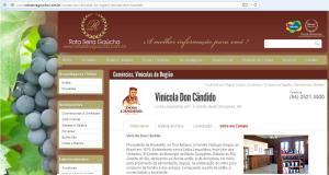 Página da Vinicola Dom Candido, em Bento Gonçalves.