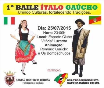 """Convite para a """"Festa Ítalo-Gaúcha"""" da cidade de Luzerna - SC"""
