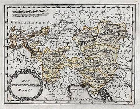 Círculo Imperial (Reichkreis) Austríaco, de 1780, com o Tirol até o Lago de Garda. A cidade de Salzburgo ainda não integrava o círculo e Trento já fazia parte do mesmo.