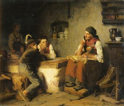 Franz von Defregger. Die Märchenrzahlerin. Óleo sobre tela.