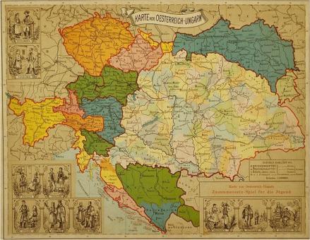 O Império da Áustria-Hungria que unia o Império Austríaco e o Reino da Hungria. A região do Tirol (em amarelo, no canto esquerdo) integrava os domínios austríacos.