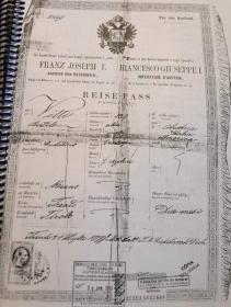 Passaporte austríaco de Bortolo Vitti.