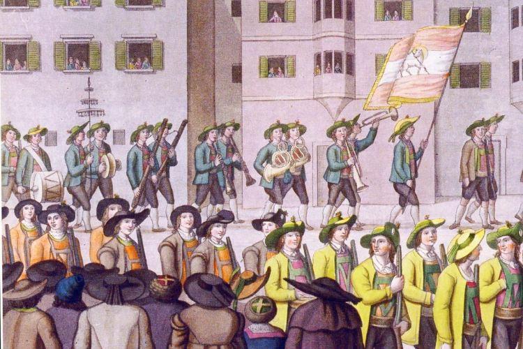 Desfile Festivo dos Atiradores Tiroleses, água-forte de Joseph Weger (1805) [7]