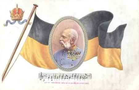 Cartão postal com a bandeira imperial austríaca e figura do imperador.