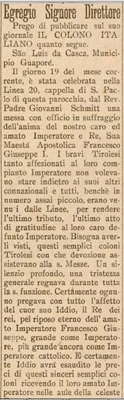 Il Colono Italiano ed. 51 1917 Guaporé RS