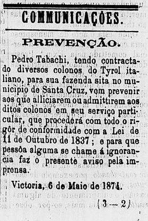 aviso Pietro Tabacchi 1874